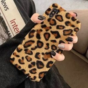 iPhone X Case Fuzzy Leopard Cell Phone Case